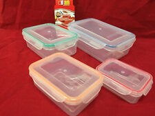 4 AIR TIGHT LOCKING LIDS FOOD Storage BPA FREE PLASTIC CONTAINERS Microwave Safe