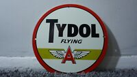 VINTAGE TYDOL FLYING A PORCELAIN SIGN GAS MOTOR OIL METAL PUMP STATION GASOLINE