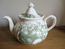 Vintage Mason's Green Fruit Basket Large Tea Pot 2 Pints Pours Well