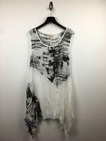mujer blanco y Negro Ligero Vestido sin mangas talla S/M,M/L NUEVO CON ETIQUETA
