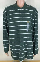The Foundry Supply Co Mens 2XL Green White Striped Long Sleeve Polo Shirt NWT