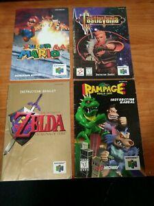 N64 Instruction Manual lot - Mario 64, Zelda Ocarina, Castlevania, Rampage