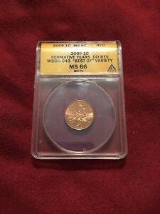 2009 ONE CENT ANACS MS 66 RED FORMATIVE YEARS DD REV WDDR-043 BEST OF VARIETY