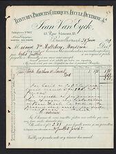 """BRUXELLES (BELGIQUE) TEINTURES FECULE DEXTRINE """"Jean VAN EYCK"""" en 1899"""