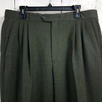 Ballin Men's Brown Dress Pants 36x32 Wool Pleated