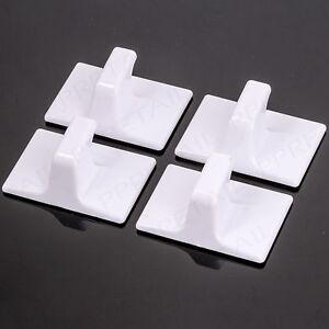SELF ADHESIVE HOOKS x4 Strong Stick On Coat/Hat Wall Hanger Porch Hall Storage