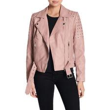 Sebby Grommet Faux Leather Moto Jacket Medium Pink Vegan Motorcycle Coat NEW
