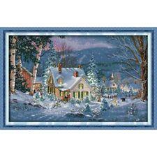 SNOWY CHRISTMAS NIGHT COUNTED CROSS STITCH KIT 14 COUNT AIDA 55x37CM