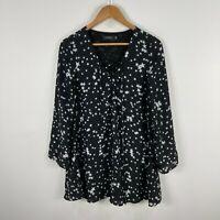 Glassons Womens Dress 6 Black Stars Long Sleeve V-Neck Tie Closure