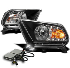 2010-2014 FORD MUSTANG BLACK CRYSTAL DRL LED HEADLIGHT LAMP+6K HID KIT PAIR