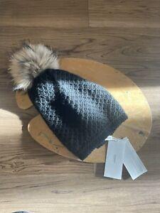 merino knit kids hatWinter hat genuine fur knit hat large fox fur pompom Real fur pompom hat knit winter hat kids knit wool hat