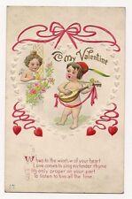 """Vintage Valentine Day Cupids Singing """"To My Valentine"""" Postcard"""