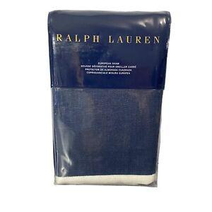 Ralph Lauren Blanc Bleu Branford Euro Pillow Sham Navy Blue Linen $215 NIP