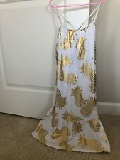 Toddlers adorable size 7-8 white with gold pineapples sundress NWt