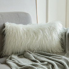 Faux Fur Throw Pillow Case Cushion Cover for Sofa Bedroom Car 12x20 Luxury