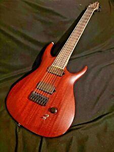 WoodStock MA 7 String Custom Electric Guitar Red Black Worn Workhorse