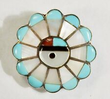Unsigned - Zuni - Mosaic Inlay Multi-Stone Sun Face with Feathers Pendant / Pin