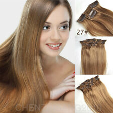 "28"" Full Head Clip in 100% Remy Human Hair Extensions 7pcs 120g 11 Colors"