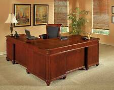 Cherry Wood L Shaped Executive Desk Parquet Pattern Desktop Office Furniture