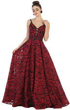 NEW FLORAL DESIGNER DRESS RED CARPET EVENING GOWN LONG PAGEANT PROM FORMAL DANCE