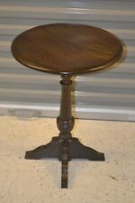 Ethan Allen Royal Charter Oak Table Round Candlestand Table Vintage #16-3548