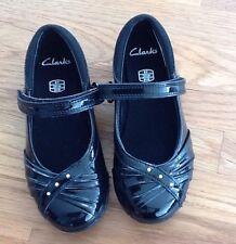 NWT black patent Clark Diamonte Little Girls School shoes 8f perfect for school