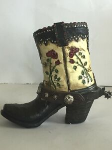 Western Small Cowgirl Boot Vases, Rustic Decorative Vases, Rose Design