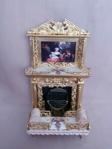 Dolls House fireplace picture fire dogs fire window seat love seat   1:12 scale