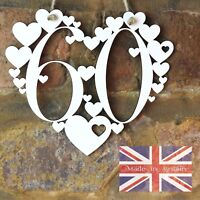 60th Birthday Gift White Love wall hanging heart decoration 60 sixty sign