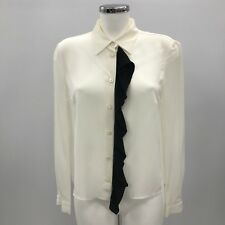 PRADA Milano Ivory Black Ruffle Silk Button Formal Shirt Women Size 42 UK 10 369
