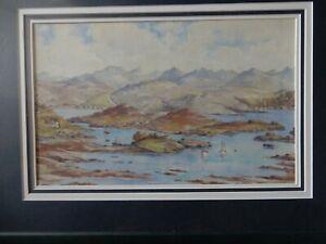 Water Colour ' Badachro - Loch Gairloch' by Thomas Train 43cm x 29cm in frame an