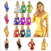 Women Wet Look Backless Metallic Slim Bodycon Mini Dress Cocktail Party Clubwear