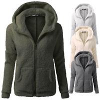 New Women Hooded Sweater Coat Winter Warm Wool Zipper Jacket Cotton Outwear Tops