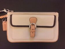 NEW Coach Cream Fabric Brown Pink Leather Large Wristlet Silver Trim Red Lining
