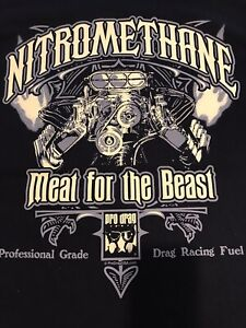 """NHRA DRAG RACING PRO DRAG USA """"MEAT FOR THE BEAST""""  T- SHIRT blk  SIZE XL"""