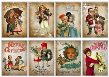 Vintage Christmas Children  Glossy Finish Card Topper - Craft Embellishment