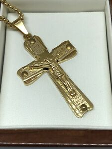 """9ct  Gold gf  Heavy Weight Crucifix Cross Chain Necklace 24"""" FREE GIFT BOX"""