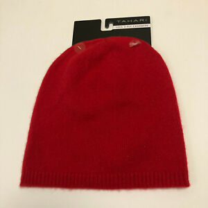 Tahari Unisex Adults 100% 2-Ply Cashmere Slouchy Beanie Hat Red One Size NWT
