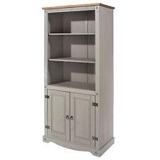 Premium Corona Grey 3 Shelf 2 Door Bookcase Tall Solid Wood Pine Washed Effect