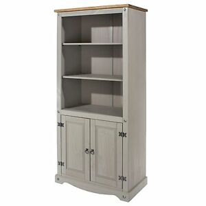 Premium Corona Grey 3 Shelf 2 Door Bookcase Tall Solid Wood Pine Washed Effect