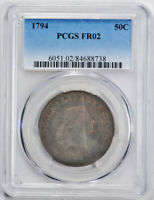 1794 50C Flowing Hair Half Dollar PCGS FR 2 Low Grade First Year US Type Coin