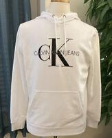 CALVIN KLEIN JEANS-MENS MONOGRAM LOGO HOODIE SWEATSHIRT WHITE SZ MED NEW!!