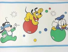 Vintage Walt Disney Wallpaper Border Mickey Mouse Pluto Donald 9.5 Yards  1994