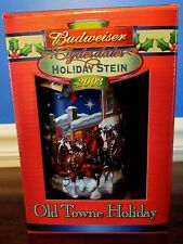 """Budweiser Clydesdales Holiday Stein 2003 """"Old Towne Holiday"""" w/Box & COA"""