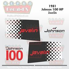 1981 Johnson 100 HP Javelin Outboard Reproduction 9 Piece Vinyl Decals