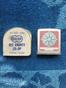 Old Vintage Antique Metal Tape Measure Lot Of Two