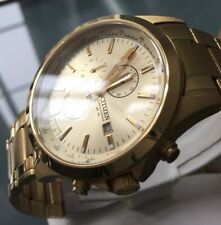 Men's Genuine Citizen Designer Watch Chronograph Large Gold Champagne AN3512-54P