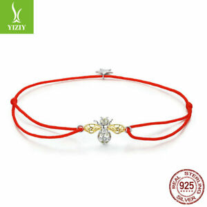 Authentic S925 Silver Bracelet Red Rope Chain With Dangle Bee Adjustable Jewelry