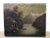 👀 Impressive Antique 1800's Hudson River School Oil Painting of Lake Scene