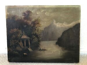 🔥 Antique Impressionist 1800's Hudson River School Oil Painting of Lake Scene
